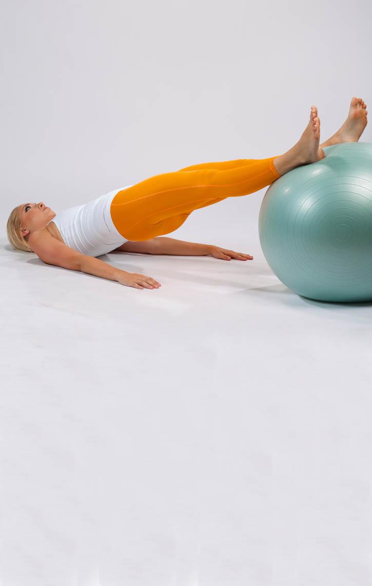 Straight Leg Supine Bridge on Stability Ball